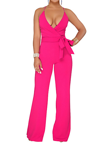 cheap Women's Jumpsuits & Rompers-Women's Wide Leg Daily / Going out Basic / Street chic Deep V Fuchsia Wine Army Green Wide Leg Slim Jumpsuit, Solid Colored Lace up L XL XXL High Waist Sleeveless Summer