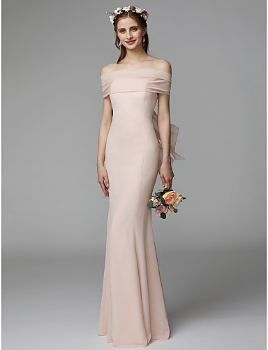 Mermaid   Trumpet Strapless Floor Length Chiffon Bridesmaid Dress with Sash    Ribbon   Pleats by LAN TING BRIDE® ca691481da37