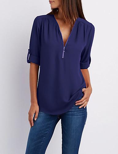 billige Dametopper-V-hals T-skjorte Dame - Ensfarget Lyseblå