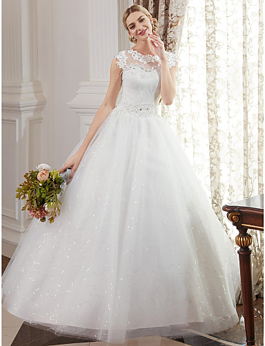 cheap Ball Gown Wedding Dresses-Ball Gown Jewel Neck Floor Length Lace Over Tulle Made-To-Measure Wedding Dresses with Beading / Appliques by LAN TING BRIDE® / Sparkle & Shine