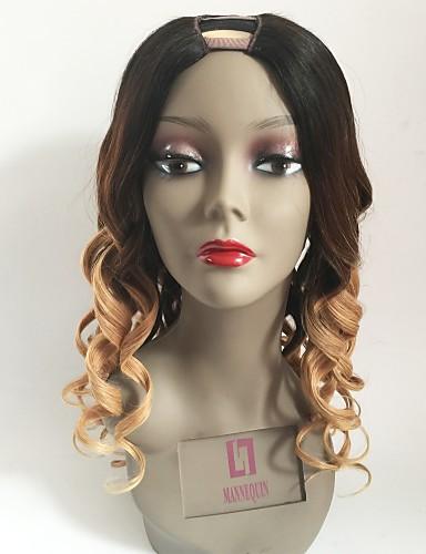 billige Blondeparykker med menneskehår-Remy Menneskehår U-del Parykk Lagvis frisyre Beyonce stil Peruviansk hår Bølget Blond Parykk 130% Hair Tetthet med baby hår Ombre-hår Mørke røtter Dame Kort Medium Lengde Lang Blondeparykker med