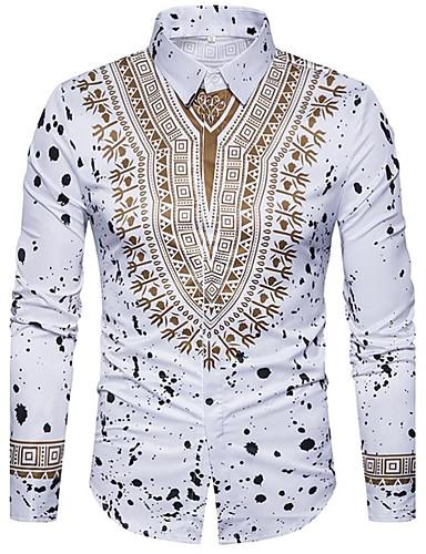 preiswerte Herrenhemden-Herrn Tribal - Luxus / Retro / Boho Baumwolle Hemd, Klassischer Kragen Schlank Druck Weiß XL / Langarm