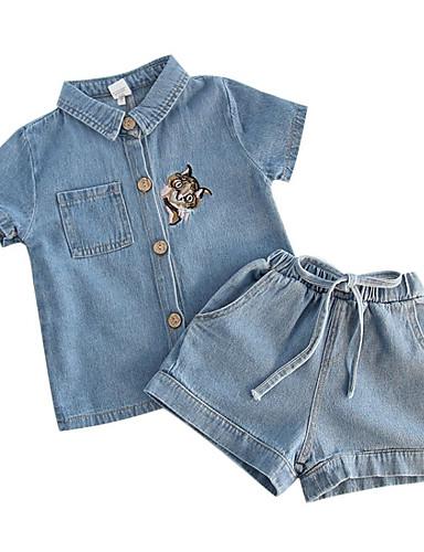Dzieci / Brzdąc Dla dziewczynek Kot Nadruk Krótki rękaw Komplet odzieży