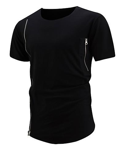 T-shirt Męskie Bawełna Okrągły dekolt Szczupła - Solidne kolory / Kolorowy blok / Krótki rękaw