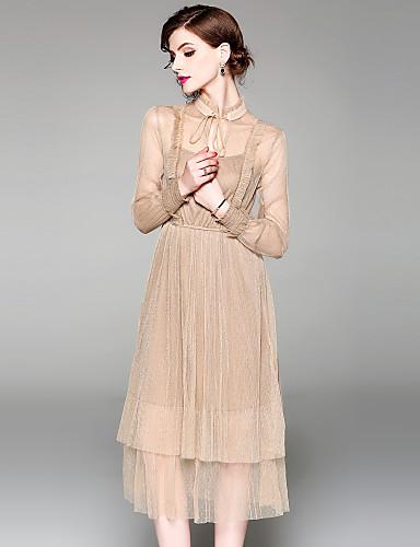 Damskie Wyrafinowany styl / Moda miejska Linia A Sukienka - Jendolity kolor, Siateczka / Sznurowany Midi