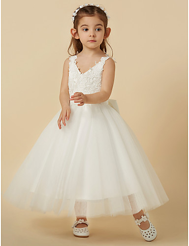 219df71600b3 A-Line Knee Length Flower Girl Dress - Lace   Tulle Sleeveless V Neck with  Bow(s) by LAN TING BRIDE®