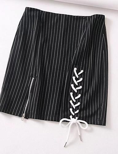Pentru femei Linie A Draguț Ieșire Mini Fuste - Dungi Talie Înaltă