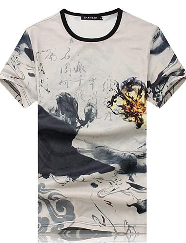 Bărbați Rotund - Mărime Plus Size Tricou De Bază - Floral / Manșon scurt / Vară / Zvelt