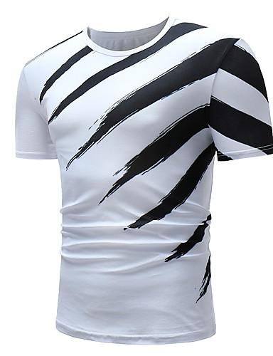voordelige Heren T-shirts & tanktops-Heren Standaard T-shirt Katoen Gestreept Ronde hals Zwart & Wit Wit / Korte mouw