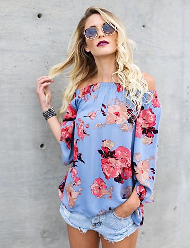 abordables Camisas y Camisetas para Mujer-Mujer Bonito / Chic de Calle Noche Jacquard / Estampado Camisa, Hombros Caídos / Escote Barco Floral Azul claro M / Primavera / Verano / Sexy