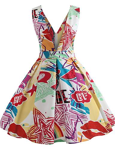 Pentru femei Vintage / De Bază Swing Rochie - Imprimeu, Geometric Lungime Genunchi