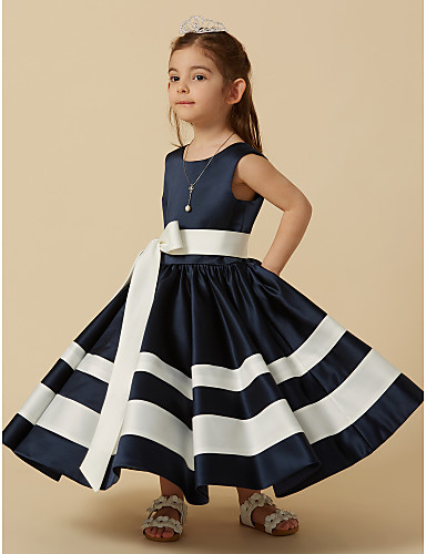 A-Line Knee Length Flower Girl Dress - Taffeta Sleeveless Scoop Neck with Bow(s) Sash / Ribbon by LAN TING BRIDE®