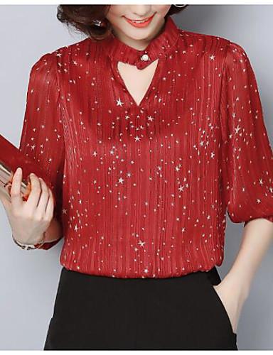 Pentru femei Bluză Vintage - Mată Plisată Negru & Roșu