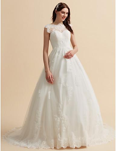 A-vonalú Bateau nyak Kápolna uszály Csipke Made-to-measure esküvői ruhák val vel Rátétek / Gombok által LAN TING BRIDE® / Open Back