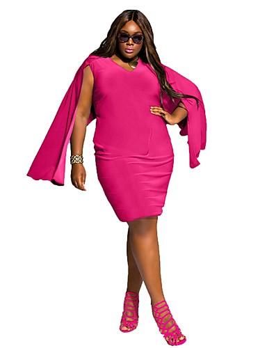 465d65341db Women s Plus Size Daily Weekend Street chic Slim Shift Sheath Dress - Solid  Colored Split V Neck Summer White Black Fuchsia XXL XXXL XXXXL