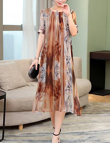 billige Kjoler-Dame Vintage A-linje Kjole - Stripet, Blonde Midi