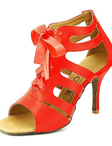billige Bryllup- & Eventsalg-Dame Dansesko Sateng Ballett / Salsasko Spenne Sandaler Kan spesialtilpasses Bronse / Svart / Rød / EU42