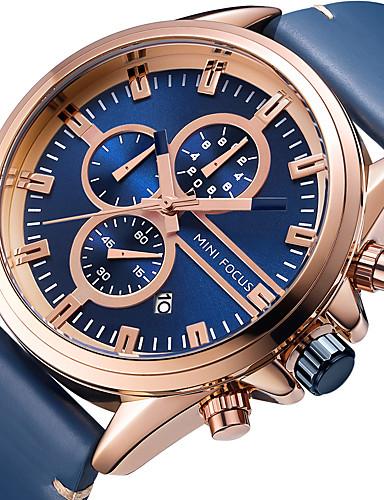 MINI FOCUS Bărbați Ceas de Mână Quartz Calendar Cronograf Cronometru Piele Autentică Bandă Analog Lux Casual Negru / Albastru - Albastru Negru / Argintiu Aur / argint / negru / Mare Dial