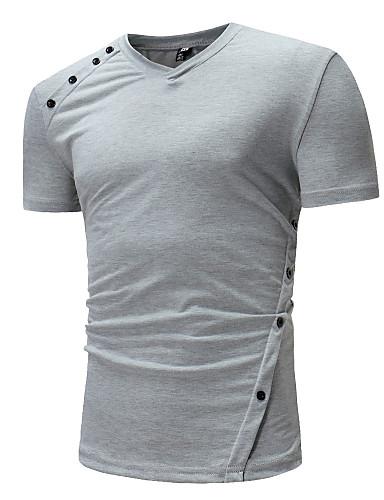 V-hals T-skjorte Herre - Kamuflasje Grunnleggende Hvit L / Kortermet