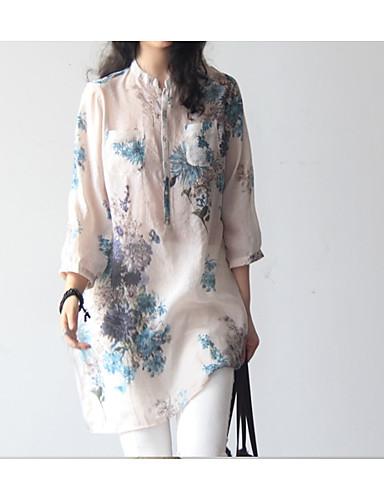 billige Dametopper-Bomull V-hals Store størrelser Bluse Dame - Blomstret, Lapper / Trykt mønster Vintage / Grunnleggende Arbeid Blå / Sommer