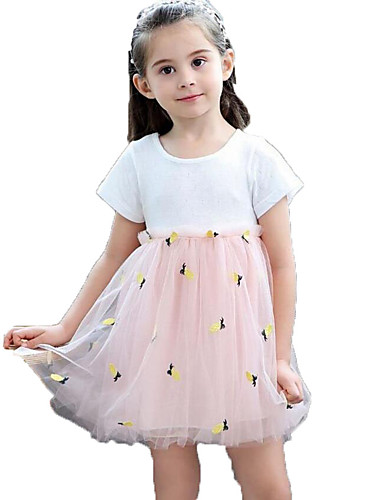 Dzieci / Brzdąc Dla dziewczynek ananasowy Żakard / Owoc Bez rękawów Sukienka