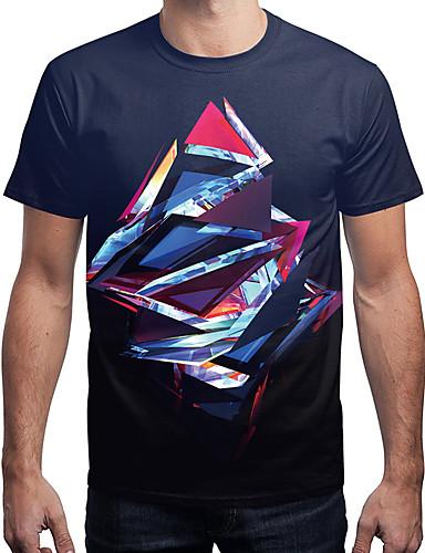 T-shirt Męskie Aktywny / Moda miejska, Nadruk Geometryczny / Wielokolorowa
