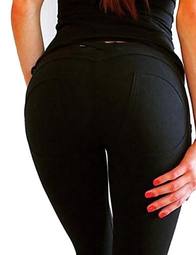 Mulheres Algodão Esportivo Legging - Sólido Cintura Baixa