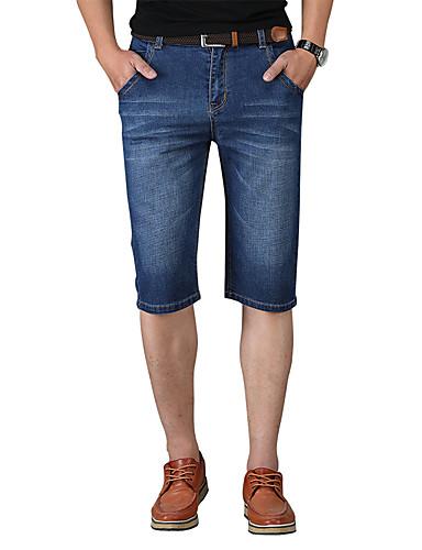 homme basique chic de rue grandes tailles coton jeans short pantalon couleur pleine marine. Black Bedroom Furniture Sets. Home Design Ideas