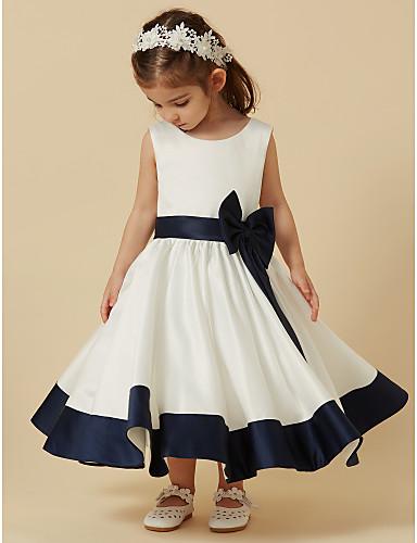 Πριγκίπισσα Κάτω από το γόνατο Φόρεμα για Κοριτσάκι Λουλουδιών - Σατέν Αμάνικο Scoop Neck με Φιόγκος(οι) / Ζώνη / Κορδέλα με LAN TING