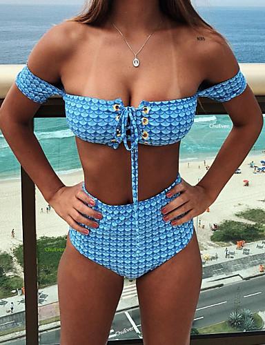 Damskie Bikini - Geometryczny, Nadruk Dół typu Cheeky