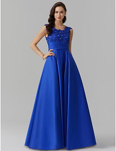 Corte en A Joya Hasta el Suelo Satén Estirado Evento Formal Vestido con Cuentas / Apliques / Recogido por TS Couture®