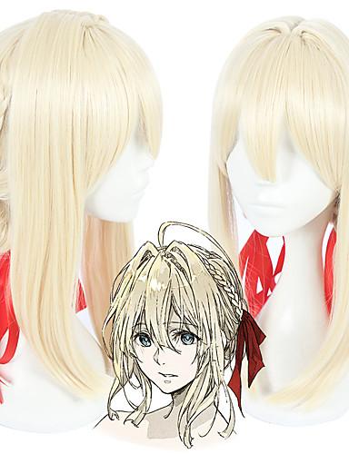 voordelige Cosplay Pruiken-Violet Evergarden Violet Evergarden Cosplaypruiken Allemaal 18 inch(es) Hittebestendige vezel Gouden Anime