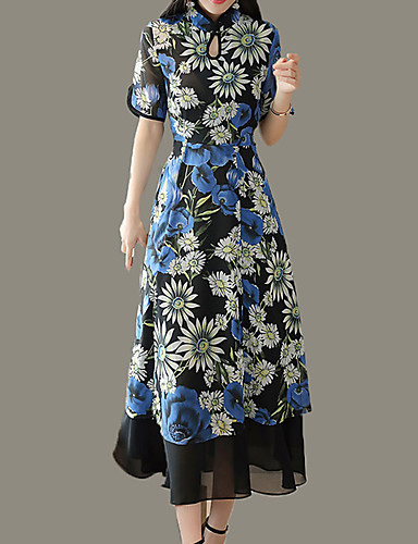 Damskie Vintage / Moda miejska Pochwa / Sukienka swingowa Sukienka - Kwiaty, Rozcięcie / Patchwork / Nadruk Maxi