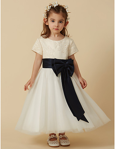 Princess Tea Length Flower Girl Dress - Satin / Tulle Short Sleeve Scoop Neck with Appliques / Bow(s) / Sash / Ribbon by LAN TING BRIDE®
