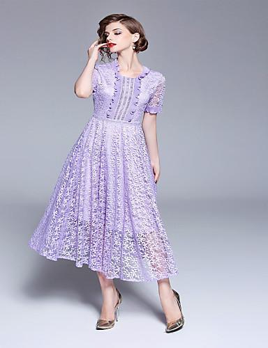 Damskie Wzornictwo chińskie Rekaw z falbanami Sukienka swingowa Sukienka Koronkowe wykończenie Midi
