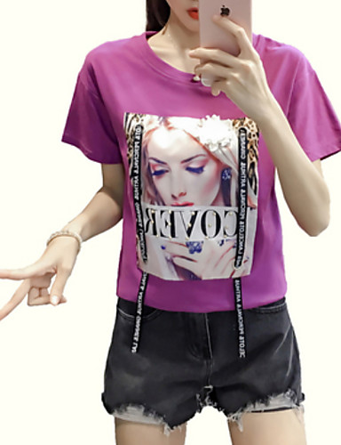 tricou pentru femei - gât rotund cu litere