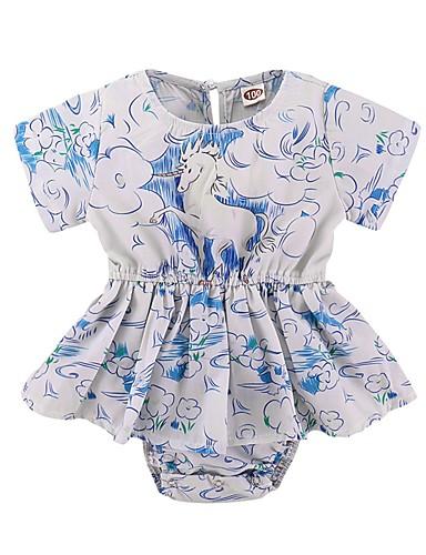 Bebelus Fete De Bază Floral Mânecă scurtă Bumbac O - piesă / Copil