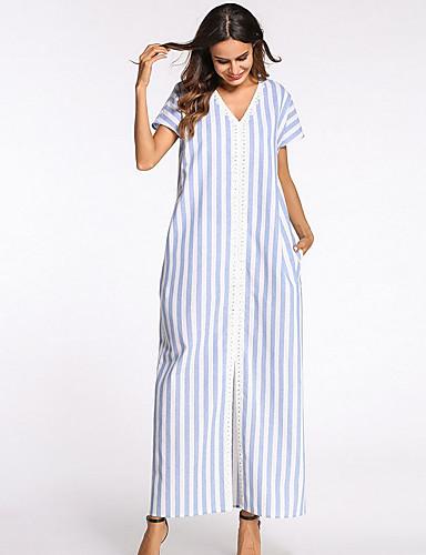 3055b2f1a Mujer De Gran Tamaño Pantalones - A Rayas Baja cintura Azul claro ...