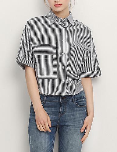 billige Topper til damer-Bomull Puffermer Store størrelser Bluse Dame - Ensfarget / Stripet, Dusk Vintage Svart og hvit Svart