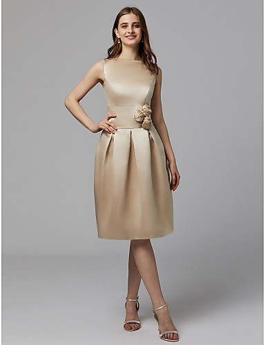 גזרת A עם תכשיטים באורך  הברך סאטן מסיבת קוקטייל / נשף רקודים שמלה עם תד נשפך / פרח על ידי TS Couture®