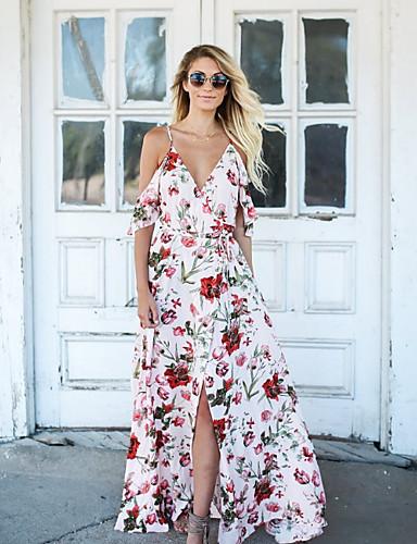 Pentru femei Tricou Rochie - Crăpătură / Imprimeu, Floral Maxi / Asimetric