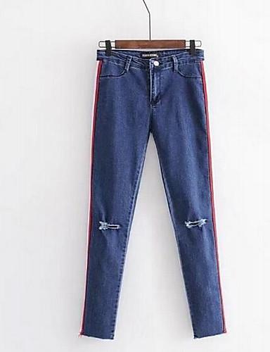 Pentru femei Activ Mărime Plus Size Bumbac Blugi Pantaloni - Plisată, Mată Albastru & Alb
