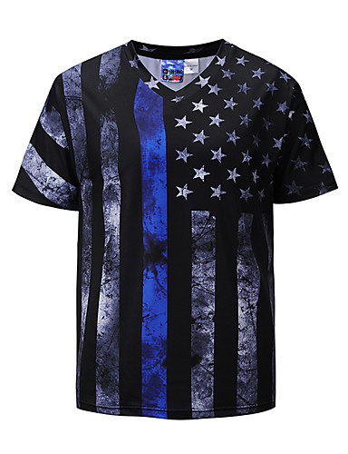 cheap Men's Clothing-Men's Daily Weekend Basic / Exaggerated T-shirt - Striped Print V Neck Black / Short Sleeve / Summer