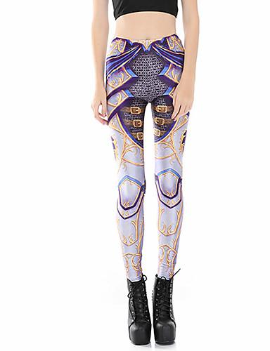 Pentru femei Zilnic Sport Legging - Geometric / Bloc Culoare Talie medie