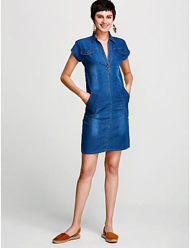 צווארון V מעל הברך אחיד - שמלה ג'ינס כותנה מידות גדולות בסיסי בגדי ריקוד נשים / אביב