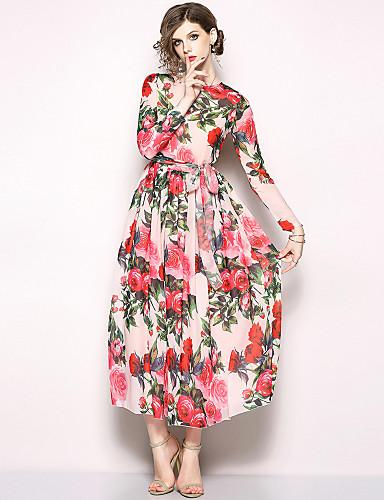 voordelige Maxi-jurken-Dames Feestdagen / Uitgaan Boho / Street chic Wijd uitlopend Jurk - Bloemen, Print Maxi