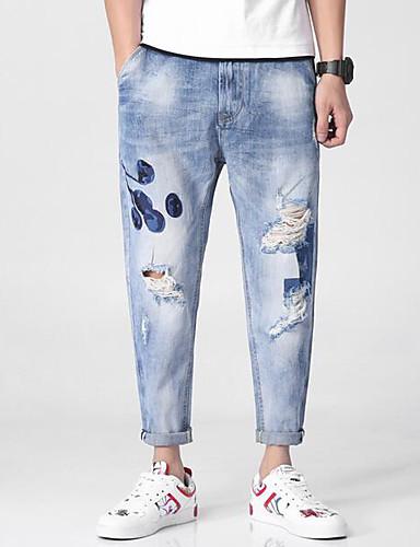 Bărbați Șic Stradă Blugi Pantaloni Floral