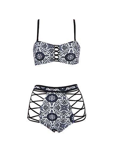 Pentru femei Boho Bikini - Cu Șiret, Floral Cu Bretele Briefs Bustieră Fașă Elastică Alb negru / Tropical Leaf