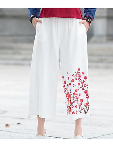 Pentru femei Activ Picior Larg Pantaloni Mată Negru & Roșu
