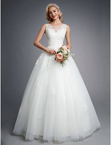 cheap Wedding Dresses-Ball Gown Jewel Neck Floor Length Lace / Tulle Made-To-Measure Wedding Dresses with Beading / Appliques by LAN TING BRIDE®